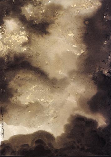 Explosion 5 Encre et déchirure sur papier 20/20 cm