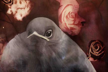 Extrait de l'oiseau tombé du nid Peinture sur toile libre, 140/70 cm environ