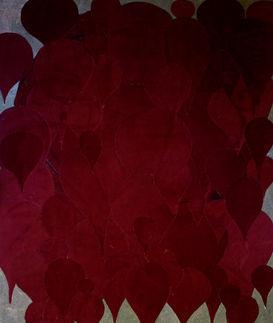 Monochrome velours 2 Collage de velours découpé sur toile de jute Tableau 140/100 cm