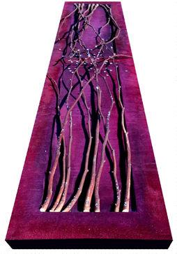 Liens pourpres au soleil Tissus, peinture, branches et pigments 160/35 cm