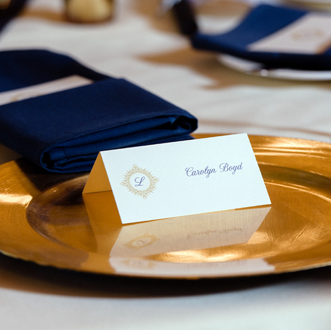 Navy Blue and Gold Place Card