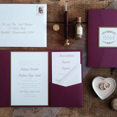 Burgundy and Gold Pocket Wedding Invitation Suite