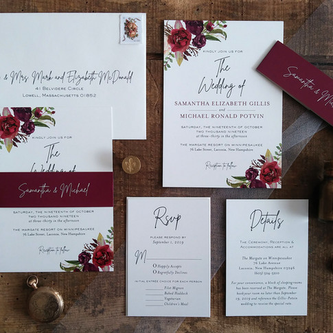 Burgundy Floral Wedding Invitation with Belly Band