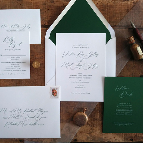 Modern Green and White Wedding Invitation Suite