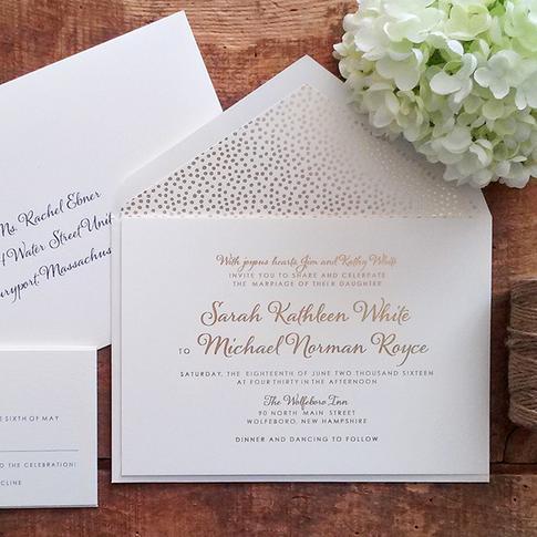 Gold Foil Pressed Wedding Invitation Suite