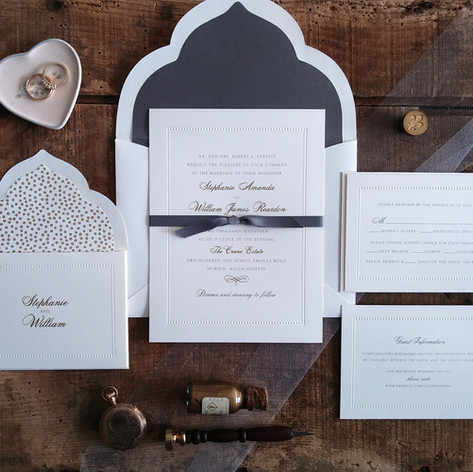 Beaded Border Wedding Invitation Suite featuring Gray and Gold