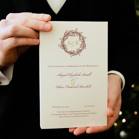 Burgundy and Gold Folder Wedding Program