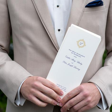 Navy Blue and Gold Folder Wedding Program