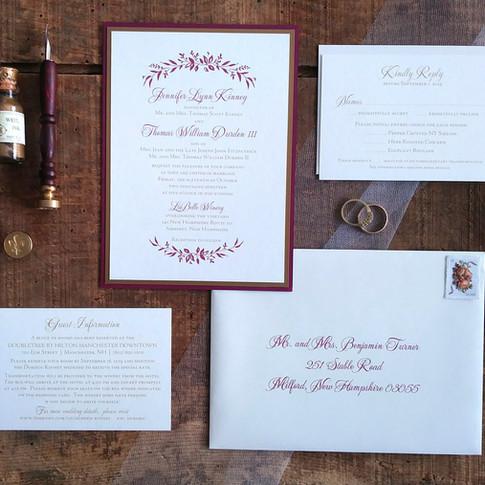 Burgundy and Gold Vineyard Wedding Invitation