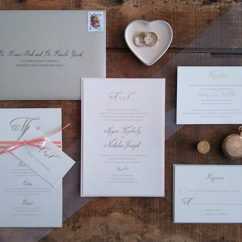 Blush, Ivory and Gold Foil Pressed Wedding InvitationSuite