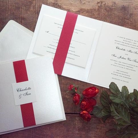 Ivory Shimmer Folder Wedding Invitation with Red Band