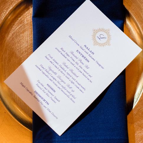 Navy Blue and Gold Elegant Wedding Menu