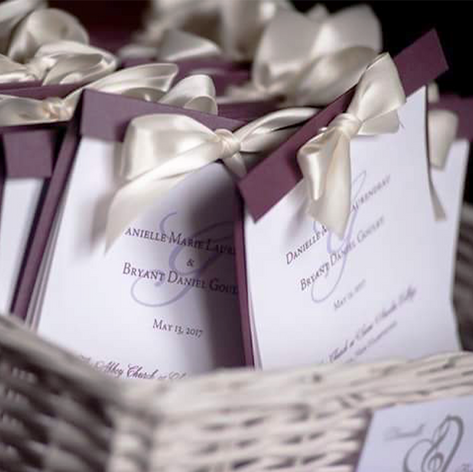 Four Page Layered Wedding Program with Ribbon
