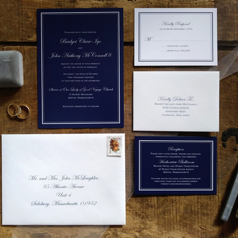Traditional Navy Blue Wedding Invitation with White Lettering