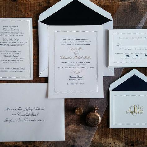 Elegant Navy Blue and Gold Wedding Invitation Suite