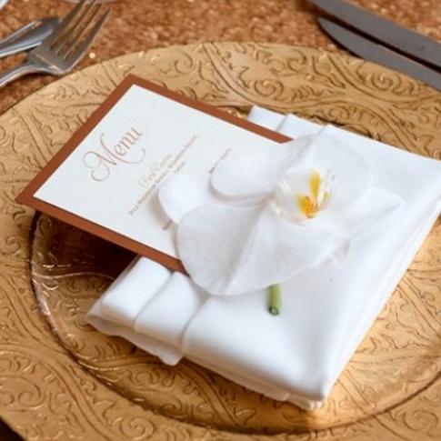 Copper and Ivory Layered Wedding Menu