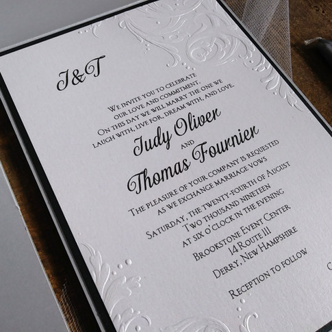 Elegant Embossed White, Black and Silver Pocket Wedding Invitation