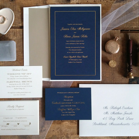 Luxurious Gold Foil Pressed on Navy Blue Papers
