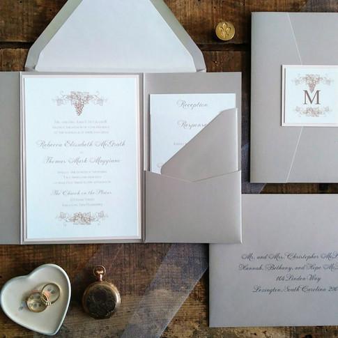 Taupe, Blush and Ivory Vineyard Wedding Pocket Invitation Suite