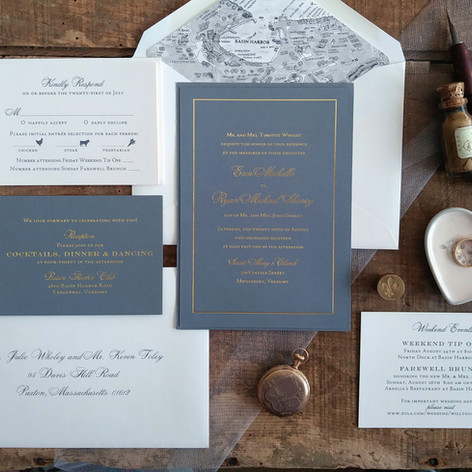 Layered Wedding Invitation Suite featuring Gold Foil