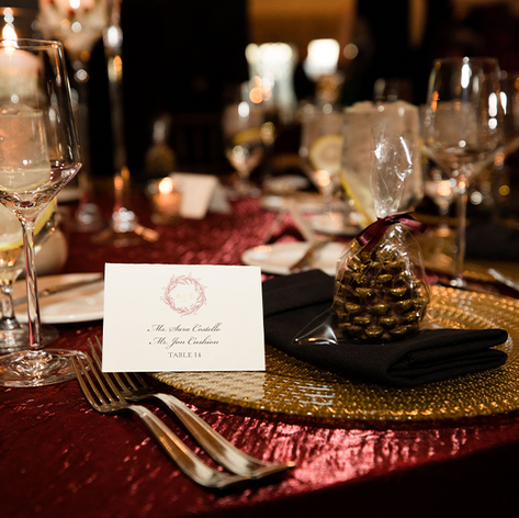 Burgundy and Gold Escort Card with Mongram