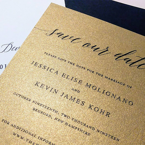 Gold and Indigo Save the Date