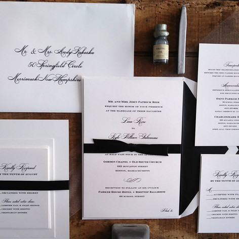 Formal Black and White Engraved Wedding Invitation Suite