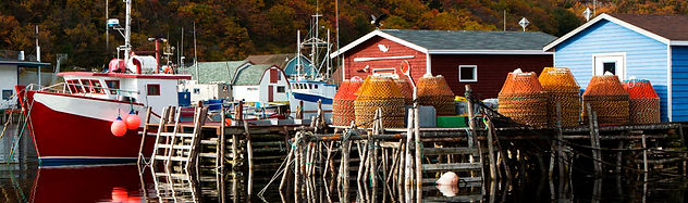 Crab pots on a wharf in front of a stage