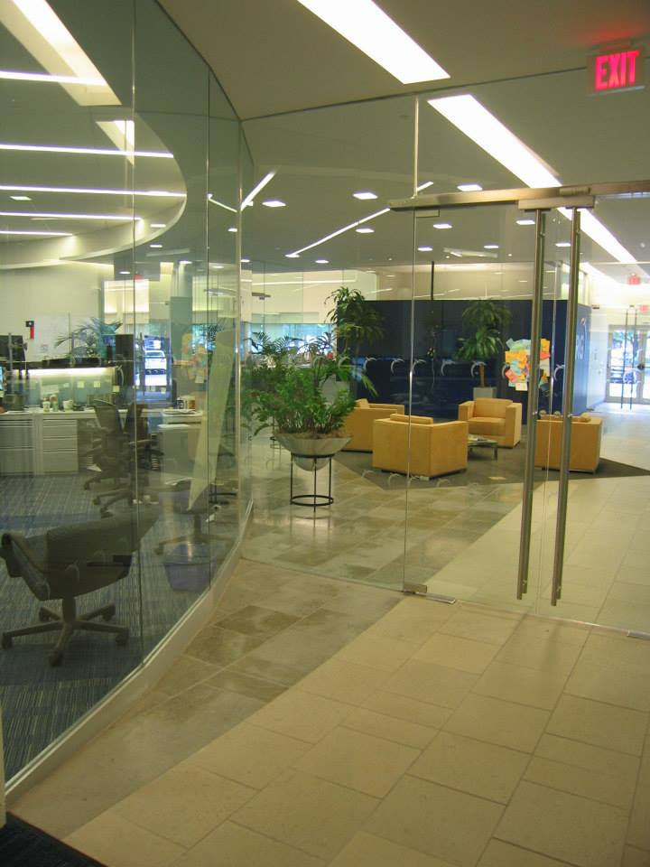 frameless glass windows office commercia