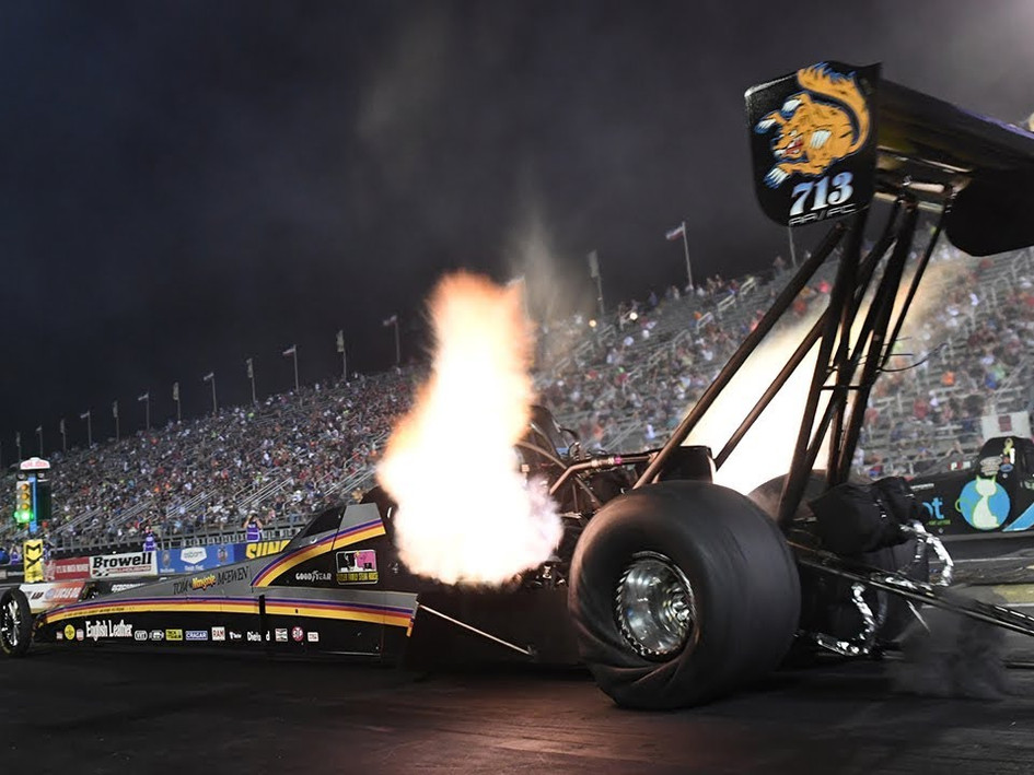 Mike Salinas takes his Mongoose tribute dragster to the top at Indy