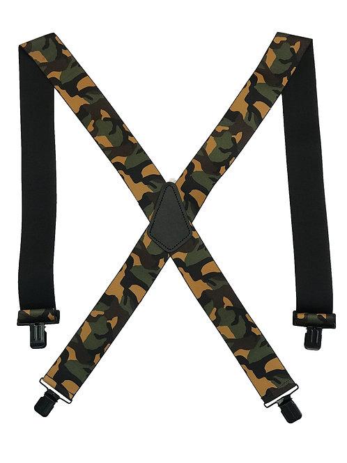Camo Clip-On Suspenders - Woodland Camo