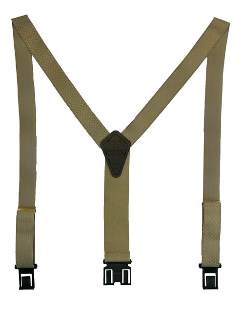 "1 3/8"" Premium Dress Perry Suspenders - Beige Checkered"