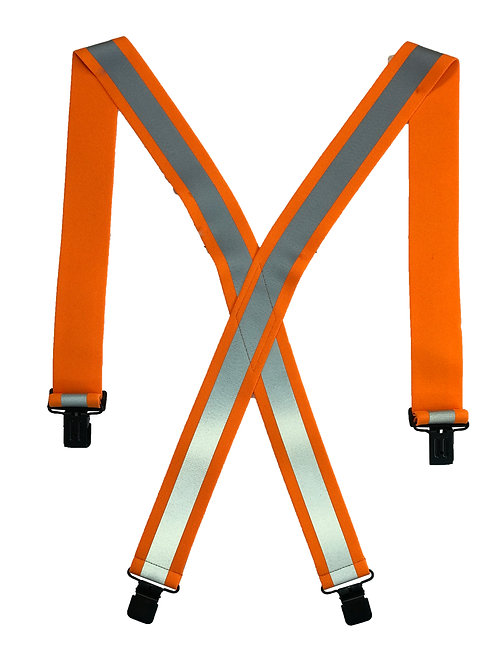 Clip-On Reflective Safety Suspenders  - Orange