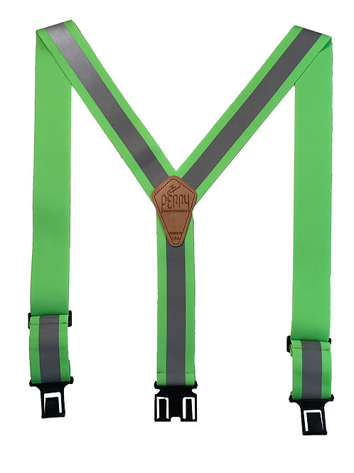 Reflective Safety Perry Suspenders - Lime