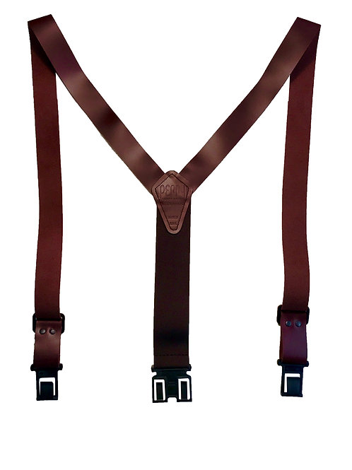 "1 1/2"" Leather Perry Suspenders - Brown"