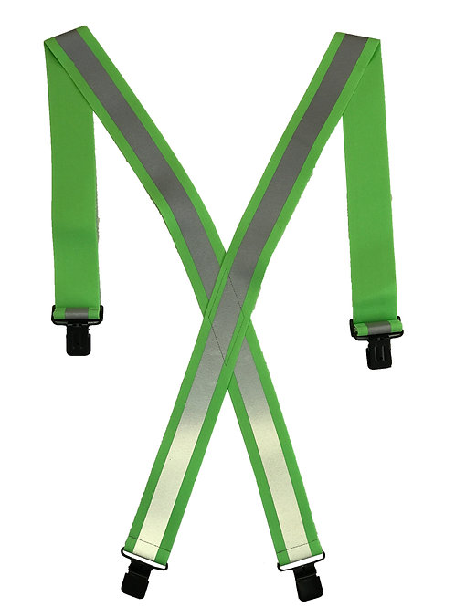Clip-On Reflective Safety Suspenders - Lime