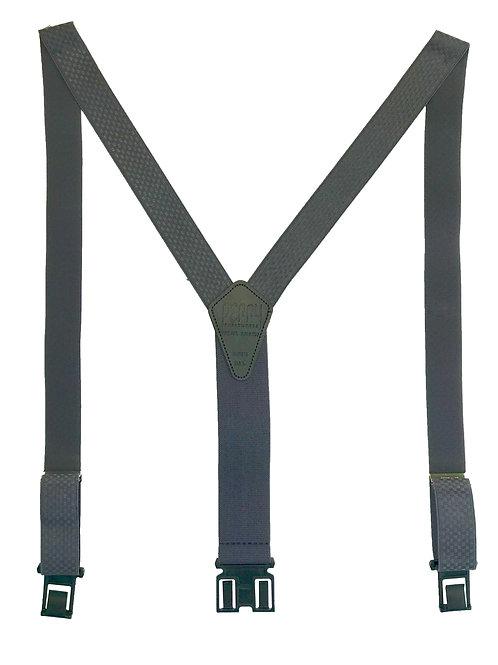 "1 3/8"" Premium Dress Perry Suspenders - Gray Checkered"