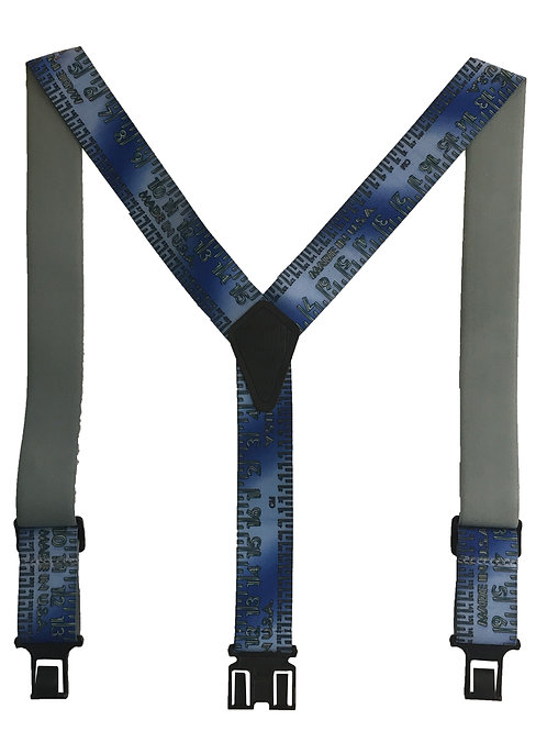 Novelty Perry Suspenders - Blue Metallic Yardtape