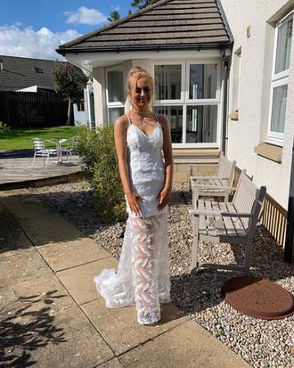 Bespoke white prom dress