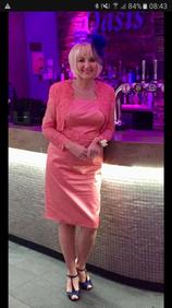 Bespoke evening dress and lace jacket