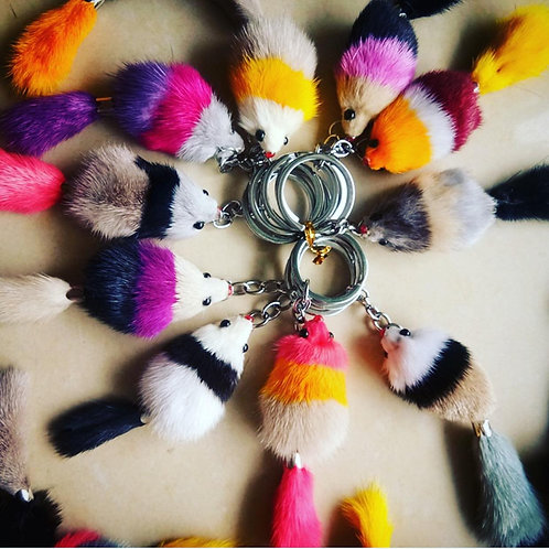 Real Fur Mice Keychain