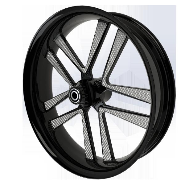 BlackCR5MotorcycleWheelwithSilverInserts