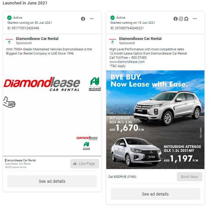 DiamondLease Facebook Ads Dubai