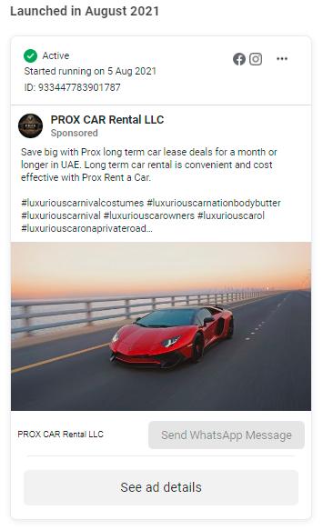PROX CAR Rental LLC Facebook Ads in UAE
