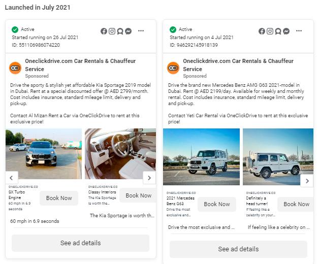 OneClickDrive UAE Car Rental Service Facebook Ads
