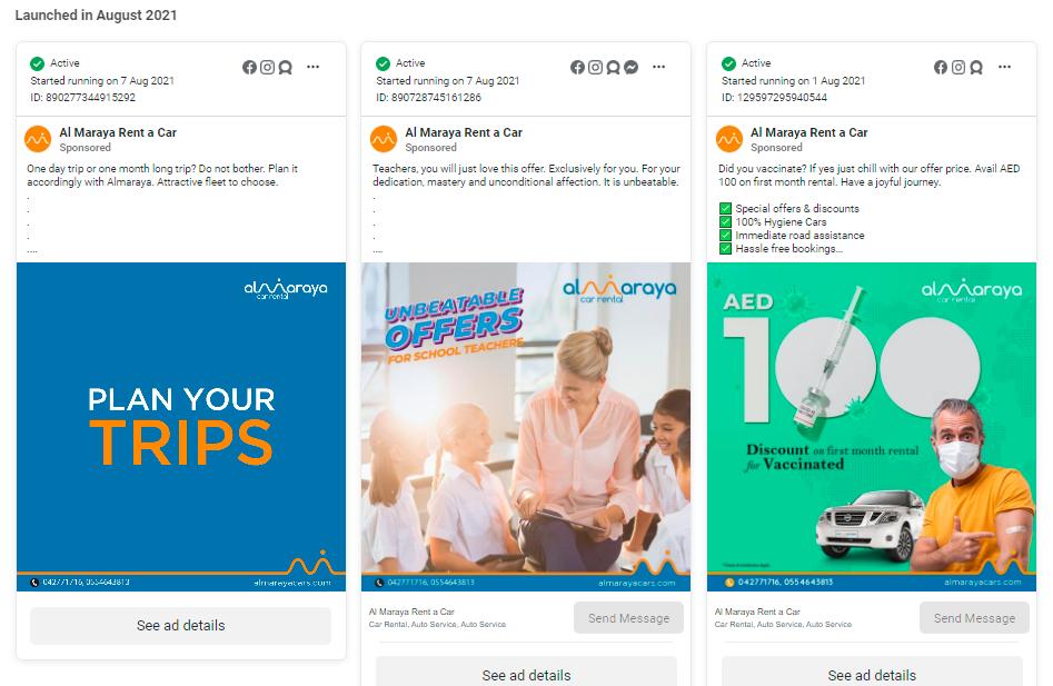 Al Maraya Rent A Car Facebook Ads
