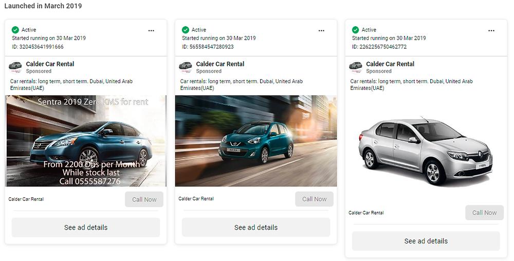 Dubai UAE Calder Car Rental Facebook Ads