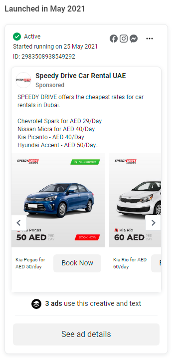 SpeedyDrive Car Rental Service Facebook Instagram Ads