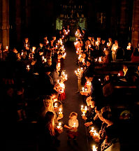 Christingle cross of lights photo taken from top of chancel screen.jpg