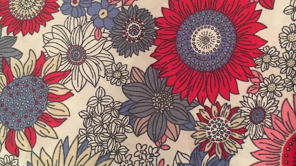 Sunflowers Pink & Blue on ivory